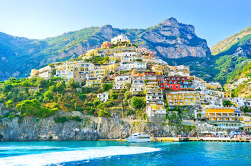 View of Positano village along Amalfi Coast in Italy in summer.
