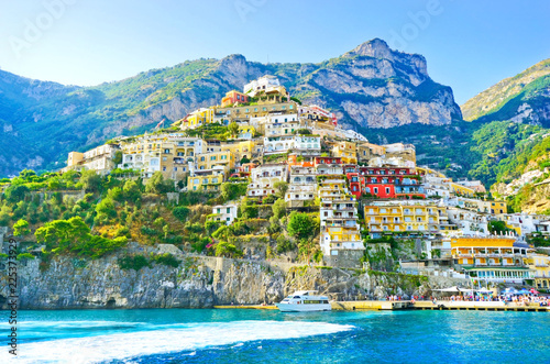 View of Positano village along Amalfi Coast in Italy in summer. Wallpaper Mural