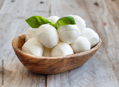 Italian cheese mozzarella with basil
