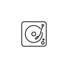 Line Dj Turntable Icon On White Background