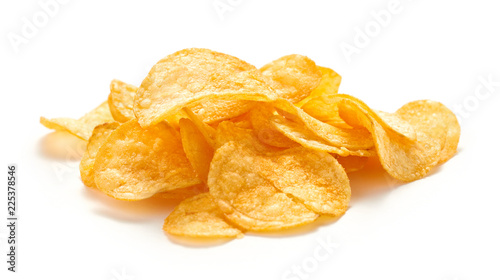 Fotografía  heap of potato chips isolated on white background