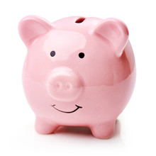 Single Pink Piggy Bank Isolate...