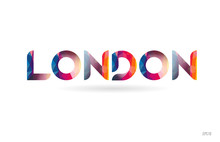 London Colored Rainbow Word Text Suitable For Logo Design