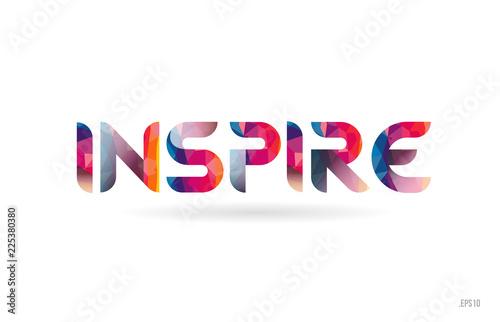 Fotografía  inspire colored rainbow word text suitable for logo design