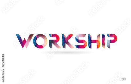 Fototapeta workship colored rainbow word text suitable for logo design
