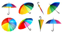 Set With Elegant Rainbow Umbrella From Different Views On White Background