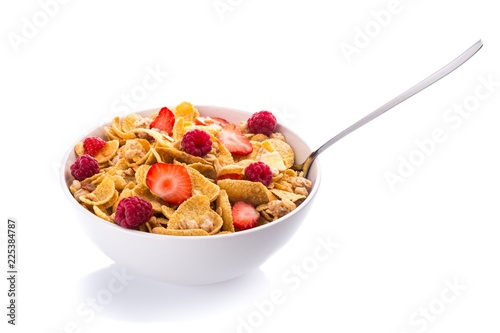 Bowl of Cornflakes with Raspberries and Strawberries