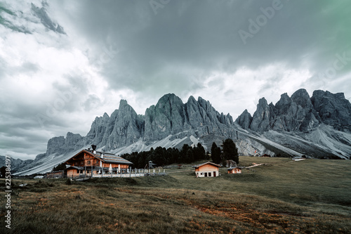 Canvas Prints Camping View of the Geisler, Dolomites.
