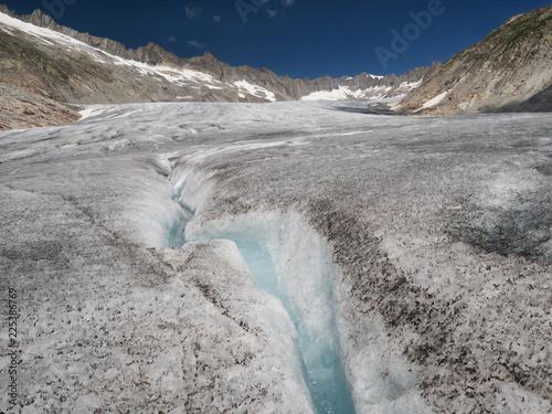 Alpine landscape with mountains and huge glacier