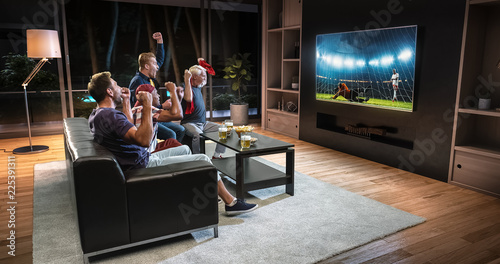 Fotografia, Obraz Group of fans are watching a soccer moment on the TV and celebrating a goal, sitting on the couch in the living room