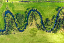 Aerial View On Winding River I...
