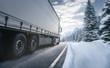canvas print picture - LKW fährt auf einer winterlichen Landstraße