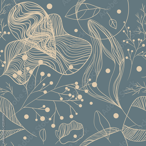 Seamless floral pattern with berries and leaves Wall mural