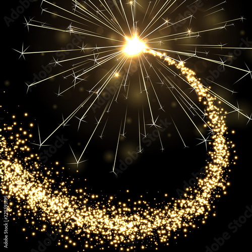 Valokuva  Golden sparkling petard or firework on black background.