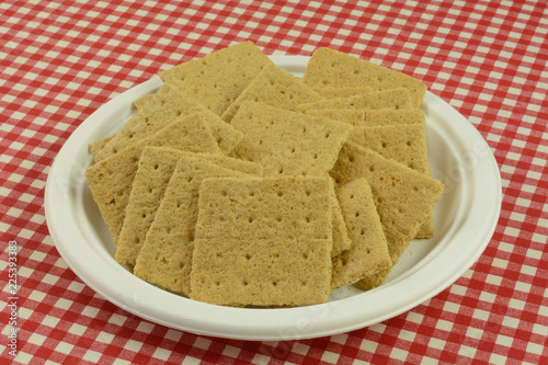 Fotografie, Obraz  Graham cracker squares snack on white eco-friendly disposable plate in red check
