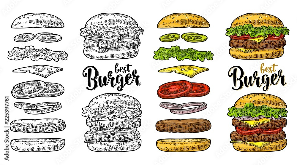 Fototapety, obrazy: Burger with flying ingredients on white background. Vector black vintage engraving