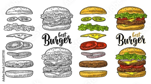 Fototapeta Burger with flying ingredients on white background. Vector black vintage engraving obraz