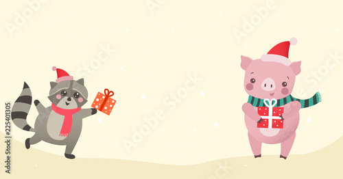 christmas or new year background with cute cartoon animals with gifts