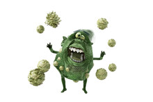 Cartoon Germs Bacteria Viruses On White Background 3D Render