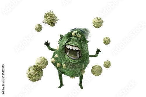 Obraz cartoon germs bacteria viruses on white background 3D render - fototapety do salonu