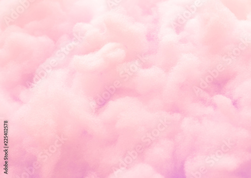 Colorful pink fluffy cotton candy background, soft color sweet candyfloss, abstract blurred dessert texture - fototapety na wymiar