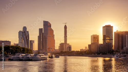 Fotobehang Praag Beautiful Moscow cityscape at sunset