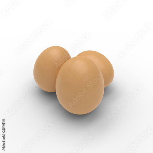 Hi resolution 3D render of three eggs isolated on white