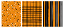 Hand Drawn Infantile Style Vector Patterns.Orange,Gray And Black Stripes  On A White Background. Black Grid On An Orange Backround.White And Black Dots On An Orange Background. Cute Simple Design.