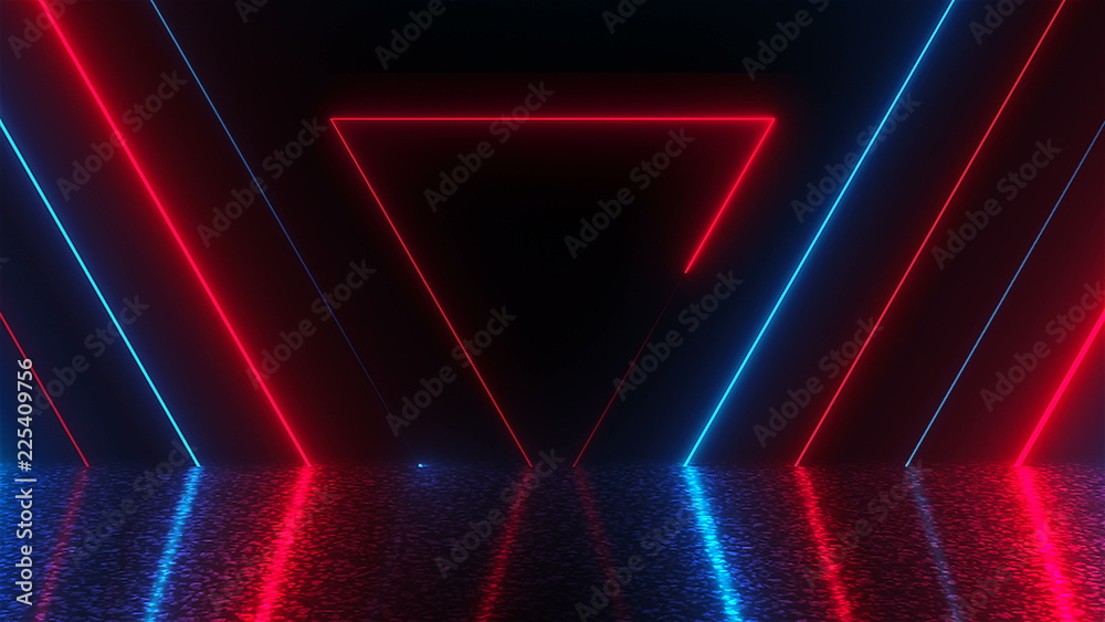 Fototapety, obrazy: Abstract triangles neon tunnel with reflection, computer generated background, 3D render background