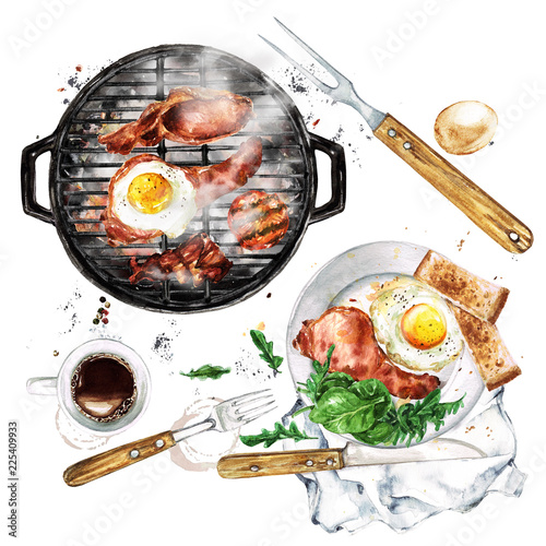 Cadres-photo bureau Illustration Aquarelle Bacon and Egg Breakfast on Grill. Watercolor Illustration.