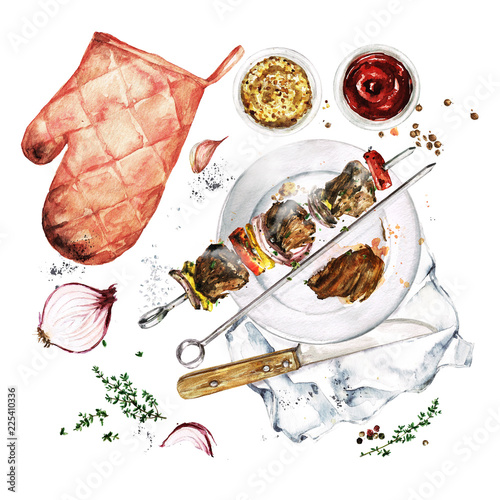Montage in der Fensternische Aquarell Abbildungen Grilled Meat Kebab. Watercolor Illustration.
