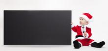 Santa Claus Baby Hold Black Ad...