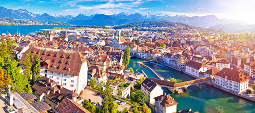 Fototapeta City of Luzern panoramic aerial sunset haze view