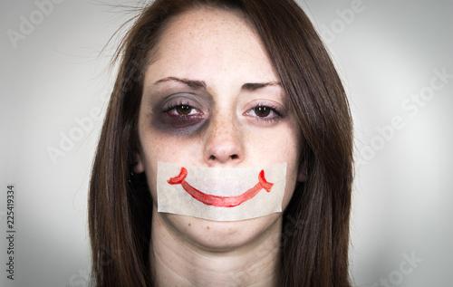 Stop violence again woman. Canvas Print