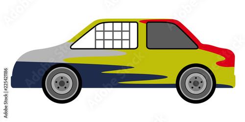 Obraz na plátne Side view of a derby car. Vector illustration design