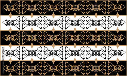 Black, white and beige authentic pattern. Vector illustration.
