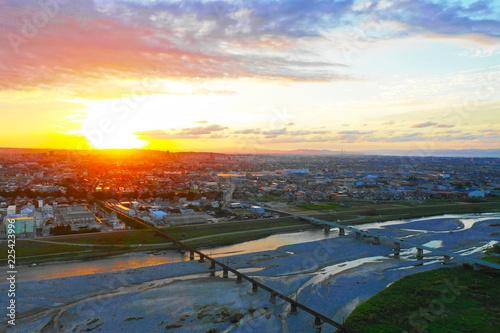 富山の夕日 Fototapete