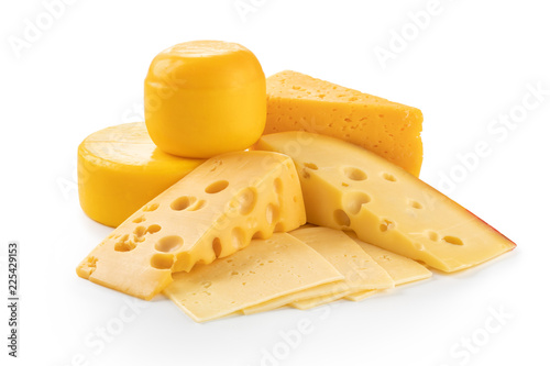 piece of cheese isolated on white background