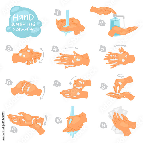 Fotografia Wash hands vector instructions of washing or cleaning hands with soap and foam i