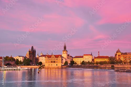 Staande foto Praag Prague, riverside on sunset with reflection