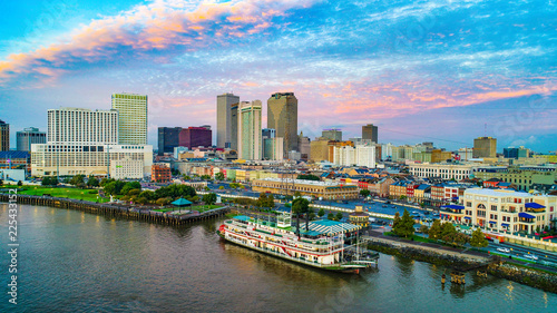 New Orleans, Louisiana, USA Downtown Skyline Aerial Canvas