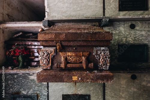 Fototapeta Rusted Casket / Coffin - Abandoned Mausoleum - Providence, Rhode Island