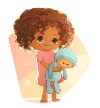 Shy Little Girl Holding Her Doll