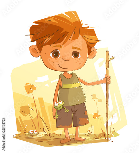 Little Boy Having Fun in the Nature Wallpaper Mural