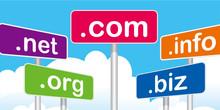 .com,.net,.biz,.info,.orgのプラカードのイラスト|ドットコム、ドットネット、ドットビズ、ドットインフォ、ドットオーアールジー