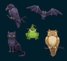 Halloween Cat, Bat And Owl, Cr...