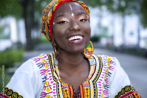 Fotografie, Obraz  ashieka wearing traditional African clothes
