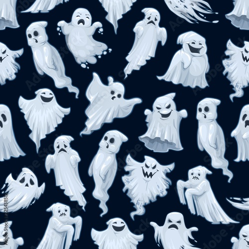 Obraz Halloween holiday cartoon ghost seamless pattern - fototapety do salonu