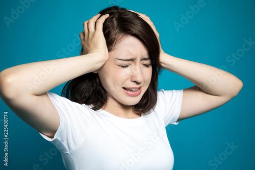 頭痛の女性 Canvas Print