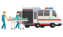 Male And Female Paramedic Enter The Patient Into The Ambulance